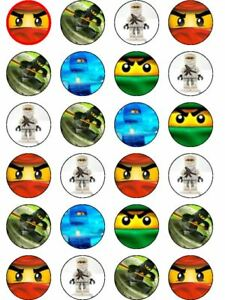24 X PRE CUT NINJAGO BIRTHDAY WAFER PAPER CUP CAKE TOPPERS