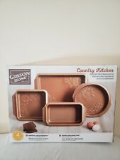 Gibson Home Country Kitchen 4 Piece Embossed Nonstick Steel Bakeware Set, NEW