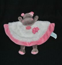 Peluche doudou hippopotame Zoé plat BABY NAT' rose blanc trèfle NEUF