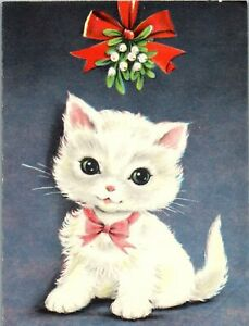 Sweet Kitty Cat Kitten Waits Under Mistletoe VTG Christmas Greeting Card