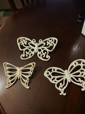 Home Interior Vintage White Wicker Butterfly Wall Plaques-Set of 3-Reconditioned