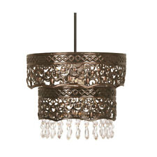 Copper Pendant Light Shade 2 Tier Clear Drops