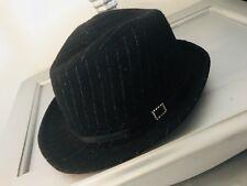 Women's Black Fedora Hat Black Ribbon Diamond Accent Size S/M