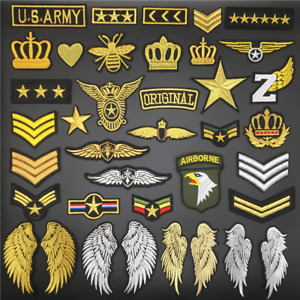 Military Style Biker Patches Popular Embroidered Iron on Sew on Badges