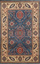 Blue/Ivory 4x6 Kazak Geometric Oriental Area Rug Hand-Knotted Vegetable Dye Wool