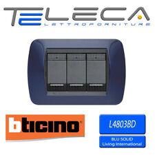BTICINO LIVING INTERNATIONAL PLACCA 3 MODULI L4803BD BLU SOLID