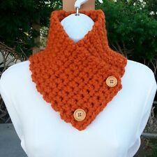 NECK WARMER SCARF Solid Burnt Orange Handmade Crochet Knit Thick Buttoned Cowl
