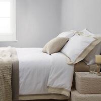 Natural Linen Border Premium 300TC 100% Cotton Sateen Duvet Cover Bed Set