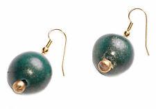 SHIMMERY EMERALD GREEN PAINTED WOODEN BEAD ON GOLD METAL HOOK EARRINGS (ZX48)