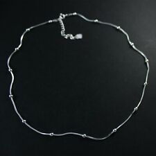 """GENUINE 925 Sterling Silver Bead Snake Chain Fine Necklace 16"""" 5.08g UK New"""