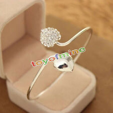 Fashion Crystal Love Heart Women Silver Plated Bangle Cuff Bracelet Jewelry