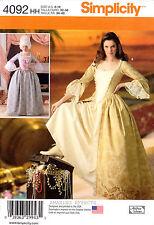 Simplicity Sewing Pattern 4092 Women's Renaissance Colonial Costume 6-12 dress