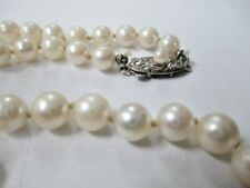 """21"""" GRADUATED CULTURED PEARL NECKLACE W/ STERLING SILVER FILIGREE CLASP 4 to 7mm"""