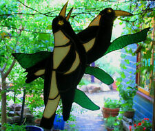 MAGPIE PAIR Real HAND CRAFTED Stained Glass Leadlight Suncatcher CHRISTMAS GIFTS