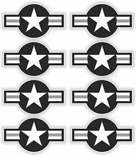8x Black US Air Force Star Stickers Sticker decal United States Airstar Airstars