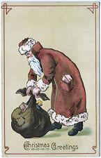 Brown Suited Santa Claus Tying Bag Christmas Greetings Postcard