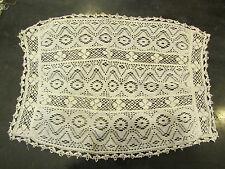 ancien napperon fait a la main au crochet rectangulaire coton blanc