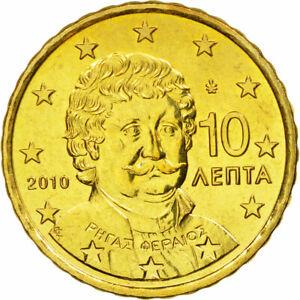 [#584168] Grèce, 10 Euro Cent, 2010, SPL, Laiton, KM:211