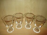 "Vintage Anchor Hocking Crystal Boopie Stem Wine Glass 5 1/2"" Gold Trim Set of 4"