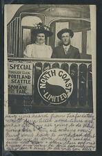 WA Spokane RPPC 1910's NORTH COAST LIMITED STUDIO PHOTO Couple to Spokane Fair