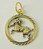Aries ram zodiac pendant charm 14 carat gold 1.7 grams