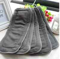 5X 5 Layers Bamboo Charcoal Cloth Nappy Reusable Washable Baby Diaper Insert