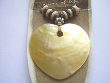 Earth & Surf cream shell heart pendant wood bead light brown cord necklace