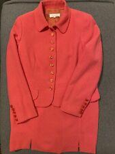 ESCADA Suit Jacket Skirt Coral Wool Rabbit Women Size 40 42