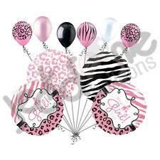 10 pc Baby Girl Sweet Safari Balloon Bouquet Baby Shower Welcome Home Zebra