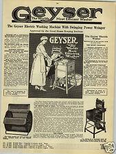 1923 PAPER AD Geyser Electric Washing Machine Power Wringer Waltham Sewing