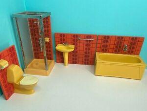 VINTAGE LUNDBY DOLLSHOUSE  70S BATHROOM  16TH SCALE