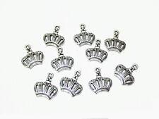10pz charms ciondoli corona 14x12mm colore argento tibet bijoux