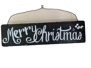 Wooden Sign 'Merry Christmas'  Xmas 45 x 12 cm  Hanging Decoration Holly Black