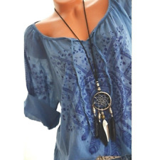 Luftig Leicht Tunika Shirt Top Blusenshirt Baumwolle Blau Traum 40 42 44 *NEU*