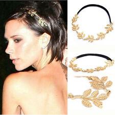 Göttin Frieden Engel Goldene Olive Blätter Elastischen Haarband Stirnband Vintag