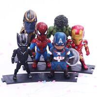 6 pcs SET Avengers Infinity War Action Figure Thanos Spiderman Cap America Hulk