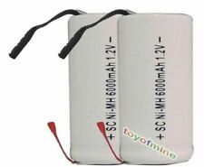 2 SubC Sub C 6000mAh 1.2V Ni-MH W/ Tab Rechargeable Battery White High Power