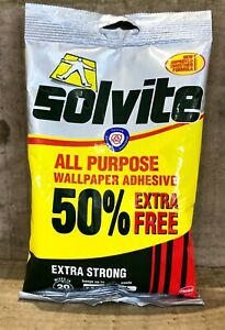 SOLVITE ALL PURPOSE EXTRA STRONG WALLPAPER ADHESIVE DECORATING 7.5 ROLLS 138g