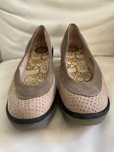 Fly London Beige & Khaki Wedge Shoes Size 7 /40
