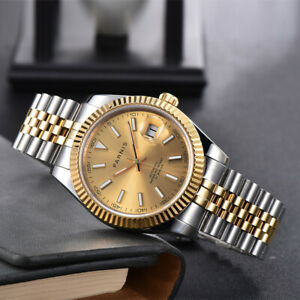 PARNIS 39.5mm Gold Date Just Gold Automatic Men Watch Two Tone Jubilee Bracelet