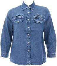 Womens Size 18 Denim Shirt Jacket BrandedCrystal Textured Detail UK Dispatch