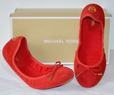 Michael Kors MK City Ballet Bright Red Suede Flats RARE out 10