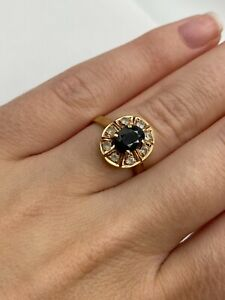 Vintage Solid 14k Gold Ring with Sapphire and Cubic Zirconia