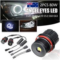 2x 80W Angel Eyes Error Free LED Halo Ring Light Bulbs 6500K For BMW E39 E53 E60