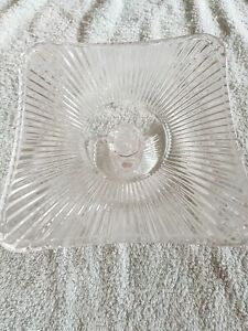 BEAUTIFUL VINTAGE STYLE RETRO SCULPTED GLASS CAKE STAND