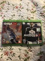 2 XBOX One Video Game Lot Sports NBA 2K Basketball Madden 18 Football NFL Lot