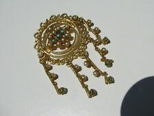 VTG. PRONG SET AB CABOCHON CARNIVAL GLASS STONES FAUX PEARLS ARTICULATED BROOCH