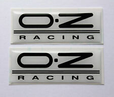 OZ racing stickers/decals 2 x 63mm Black on White - HIGH GLOSS DOMED GEL FINISH