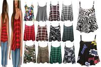 New Womens Ladies Printed Cami Sleeveless Swing Vest Top Strappy Flared Camisole
