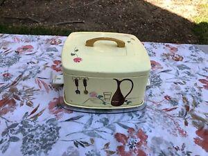 Vintage Cake Carrier Holder Ransburg Square Tin & Plastic Pink/Purple Flowers